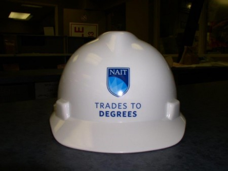 One of our decals on a hard hat in Edmonton
